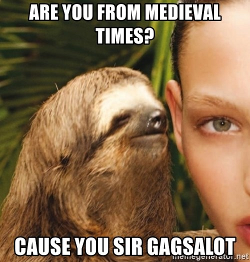 The Rape Sloth - Are you from MEDIEVAL times?  Cause you sir gagSalot