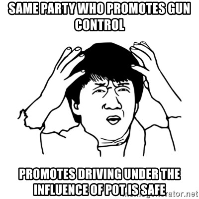 My brain is full of fuck - Same party who promotes gun control promotes driving under the influence of pot is safe
