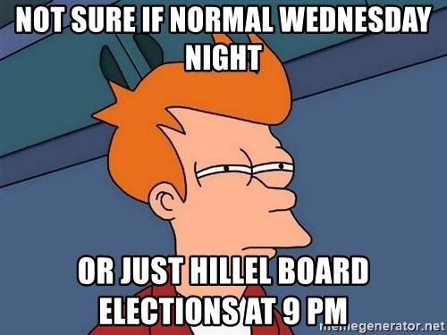 Futurama Fry - Not sure if normal wednesday night or Just hillel board elections at 9 pm