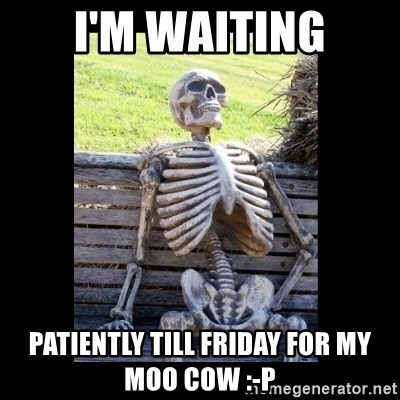 Still Waiting - I'M WAITING PATIENTLY TILL FRIDAY for my moo cow :-P