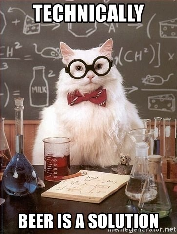 Chemistry Cat - Technically bEER IS A SOLUTION