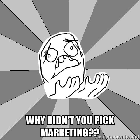 Whyyy??? -  Why Didn't You pick marketing??