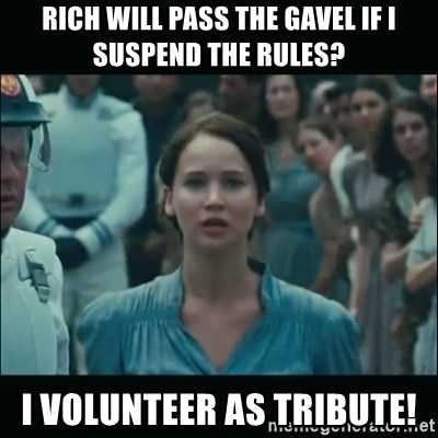 I volunteer as tribute Katniss - Rich will pass the gavel if i suspend the rules? I volunteer as tribute!