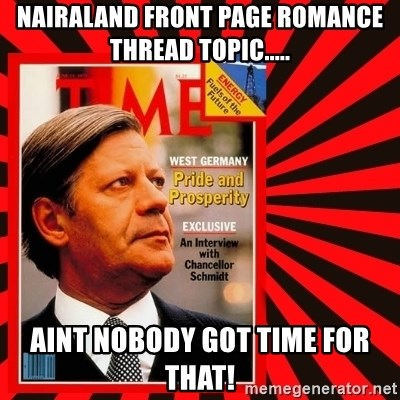 Helmut looking at top right image corner. - Nairaland front page romance thread topic..... Aint nobody got time for that!