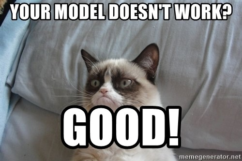 Grumpy cat good - your model doesn't work? Good!