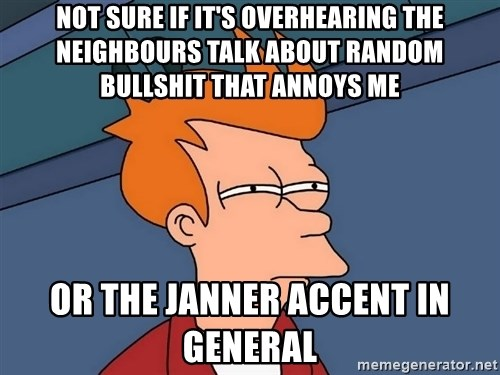 Futurama Fry - NOT SURE IF IT'S OVERHEARING THE NEIGHBOURS TALK ABOUT RANDOM BULLSHIT THAT ANNOYS ME OR THE JANNER ACCENT IN GENERAL