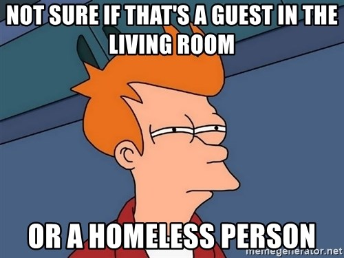 Futurama Fry - not sure if that's a guest in the living room or a homeless person