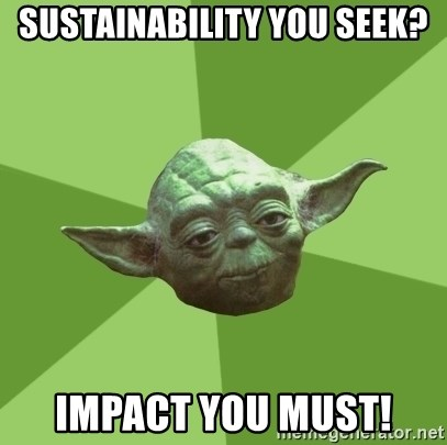 Advice Yoda Gives - Sustainability you seek? impact you must!