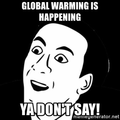 you don't say meme - GLOBAL WARMING IS HAPPENING  YA DON'T SAY!