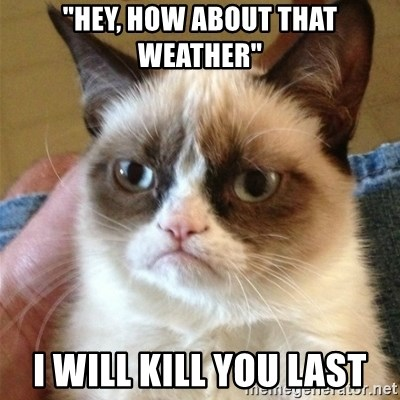 "Grumpy Cat  - ""Hey, how about that weather"" i will kill you last"