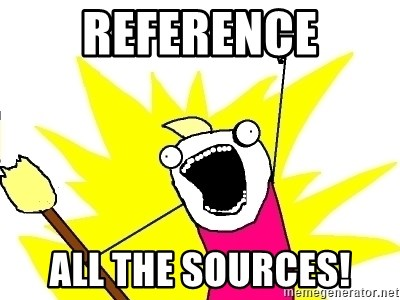 X ALL THE THINGS - reference all the sources!