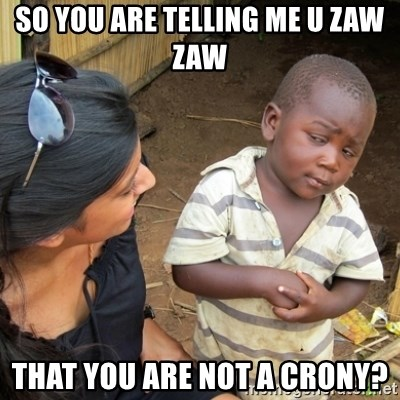 Skeptical 3rd World Kid - SO YOU ARE TELLING ME U ZAW ZAW that you are not a crony?