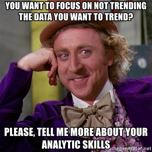 Willy Wonka - You want to focus on not trending the data you want to trend? Please, tell me more about your analytic skills
