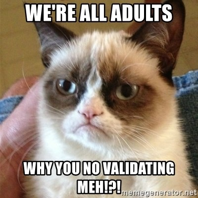 Grumpy Cat  - WE'RE aLL ADULTS WHY YOU NO VALIDATING MEH!?!
