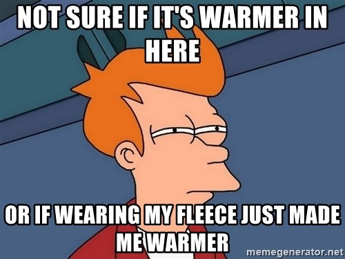Futurama Fry - Not sure if it's warmer in here or if wearing my fleece just made me warmer