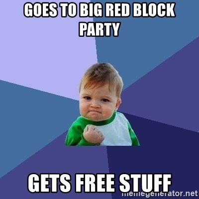 Success Kid - GOes to big red block party gets free stuff