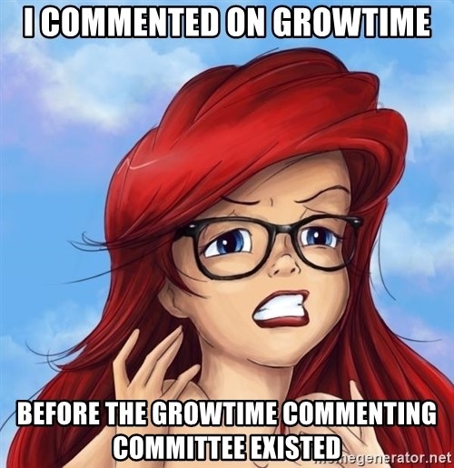 Hipster Ariel - i commented on growtime before the growtime commenting committee existed