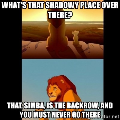 Lion King Shadowy Place - What's that shadowy place over there? That, simba, is the backrow, and you must never go there