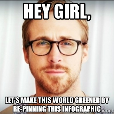 Ryan Gosling Hey Girl 3 - Hey Girl, Let's make this world greener by re-pinning this infographic