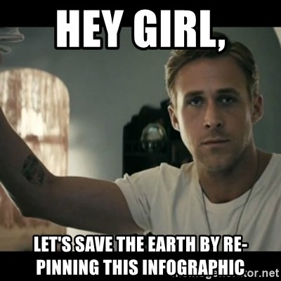 ryan gosling hey girl - Hey Girl,  Let's Save the Earth by Re-Pinning this infographic