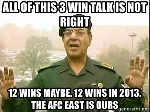 Baghdad Bob - all of this 3 win talk is not right 12 wins maybe. 12 wins in 2013. the afc east is ours