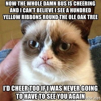 Grumpy Cat  - Now the whole damn bus is cheering and I can't believe I see a hundred yellow ribbons rOund the ole oak tree I'd cheer too if I Was never going to have to see you again