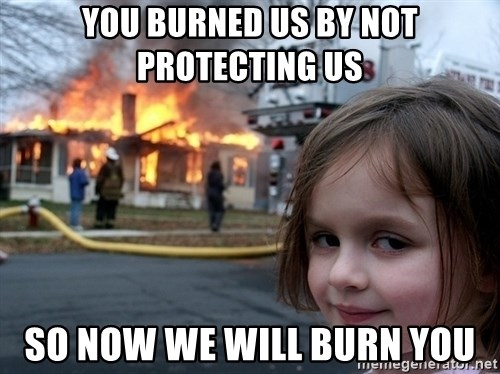 Disaster Girl - you burned us by not protecting us So now we will burn you