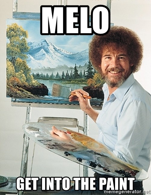 SAD BOB ROSS - melo get into the paint