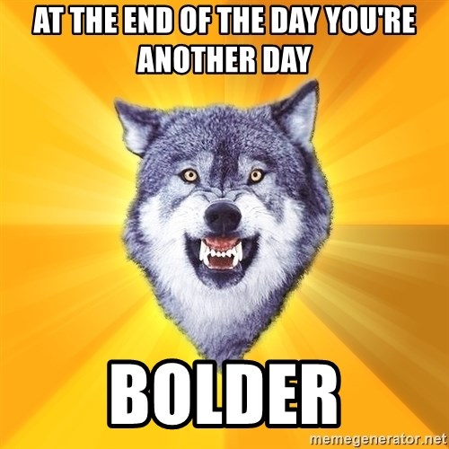 Courage Wolf - at the end of the day you're another day bolder