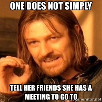 One Does Not Simply - ONE DOES NOT SIMPLY TELL HER FRIENDS SHE HAS A MEETING TO GO TO