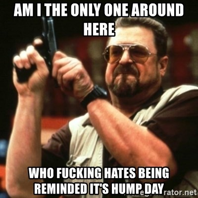 john goodman - AM I THE ONLY ONE AROUND HERE WHO FUCKING HATES BEING REMINDED IT'S HUMP DAY