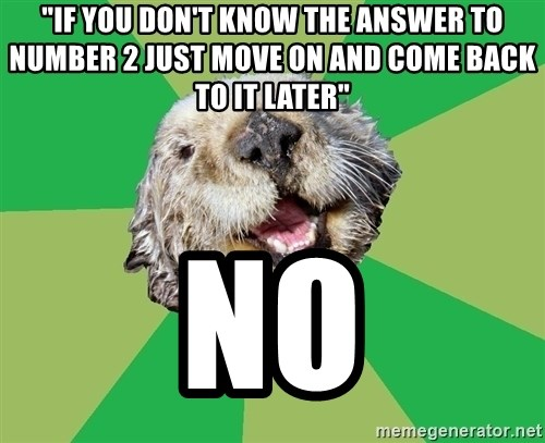 """Ocd Otter - """"if you don't know the answer to number 2 just move on and come back to it later"""" no"""