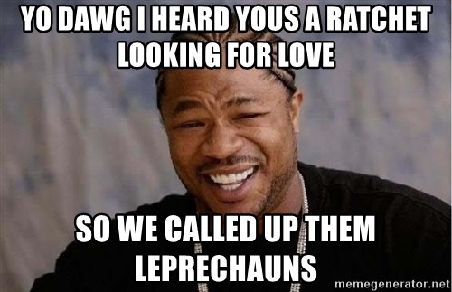 Yo Dawg - YO DAWG I HEARD YOUS A RATCHET LOOKING FOR LOVE SO WE CALLED UP THEM LEPRECHAUNS