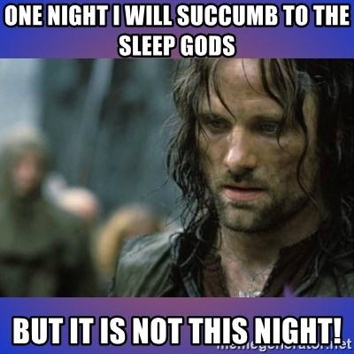 but it is not this day - One night i will succumb to the sleep gods but it is not this night!
