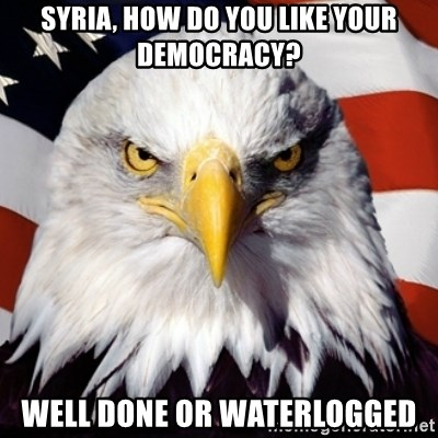 Freedom Eagle  - Syria, how do you like your democracy? well done or waterlogged