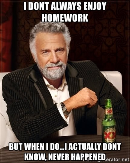 The Most Interesting Man In The World - I dont always enjoy homework But when i do...I actually dont know, never happened
