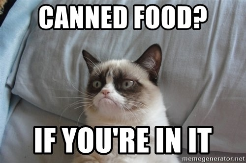 Grumpy cat good - Canned food?  If you're in it