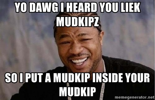 Yo Dawg - Yo dawg I heard you liek Mudkipz So I put a mudkip inside your mudkip