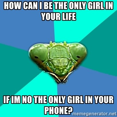 Crazy Girlfriend Praying Mantis - How can i be the only girl in your life  if im no the only girl in your phone?
