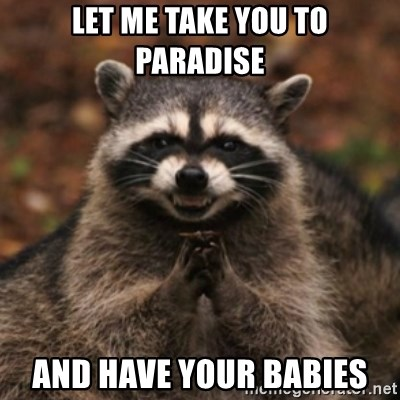 evil raccoon - LET ME TAKE YOU TO PARADISE AND HAVE YOUR BABIES