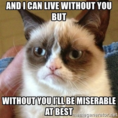 Grumpy Cat  - And I can liVe without you but Without you I'll be miseraBle at beSt