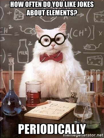 Chemistry Cat - HOw often do you like jokes about elements? periodically