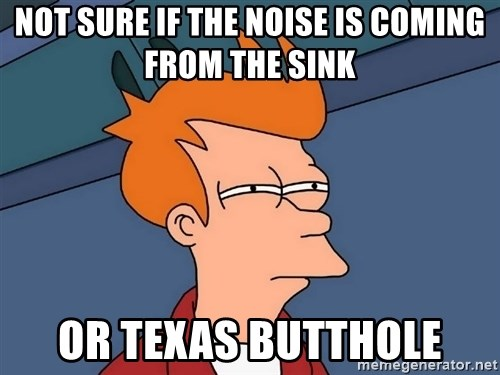 Futurama Fry - not sure if the noise is coming from the sink or texas butthole