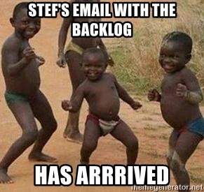 african children dancing - stef's email with the backlog has arrrived