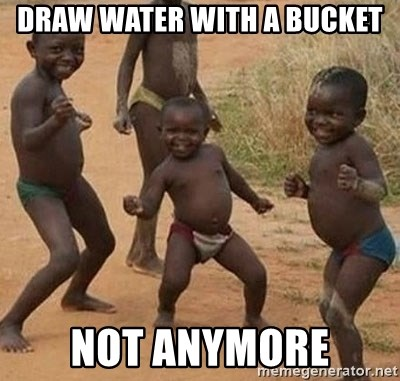 Dancing African Kid - draw water with a bucket not anymore
