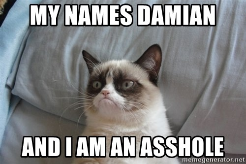 Grumpy cat good - My names Damian  And I am an asshole