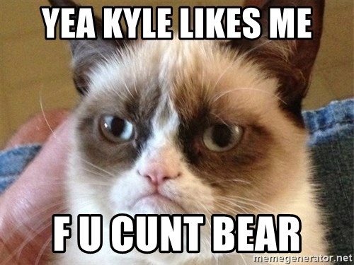 Angry Cat Meme - Yea Kyle likes me F u CUNt bear