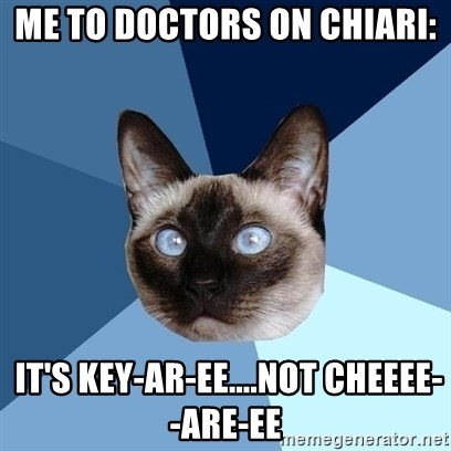 Chronic Illness Cat - Me to doctors on Chiari:  It's Key-ar-ee....not CHEEEE--are-ee