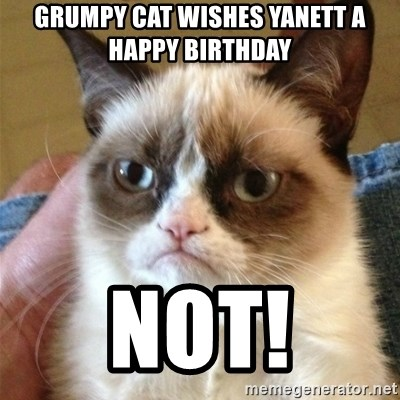 Grumpy Cat  - GRUMPY CAT WISHES YANETT A   HAPPY BIRTHDAY NOT!