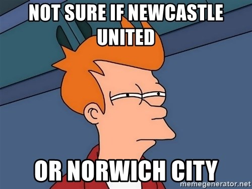 Futurama Fry - not sure if newcastle united or norwich city